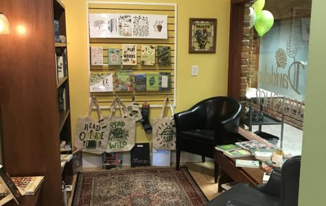 The reading nook in 2 Dandelions Bookshop is a cozy place for readers to get to know a book.