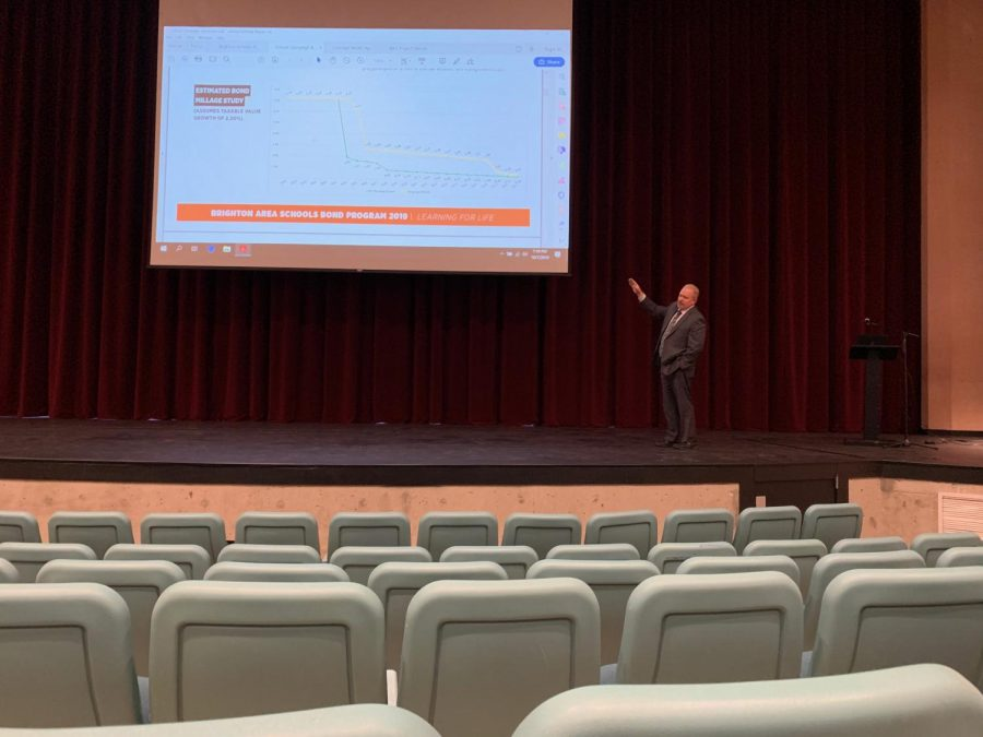 Dr. Greg Gray explains the nonexistent change in millage rate accompanying the upcoming bond.  Dr. Gray used a slideshow, found on the Brighton Area Schools' website, to explain each step of how BAS will use the money from the Nov. 5 bond.