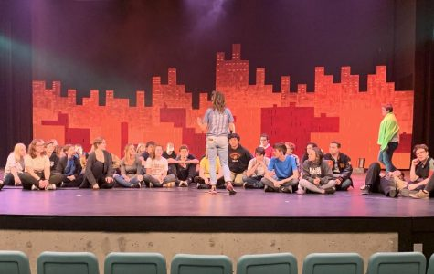 Amy Goller gives actors of War of the Worlds additional words of wisdom and positive remarks about the uncostumed run-through. The actors of War of the Worlds sat on the BCPA stage after an uncostumed run-through on Oct. 27.