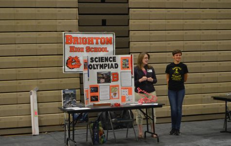 Coach Shannan Pereira and Sami Schulte represent Science Olympiad at the Club Fair. Science Olympiad is one of the larger clubs at BHS.