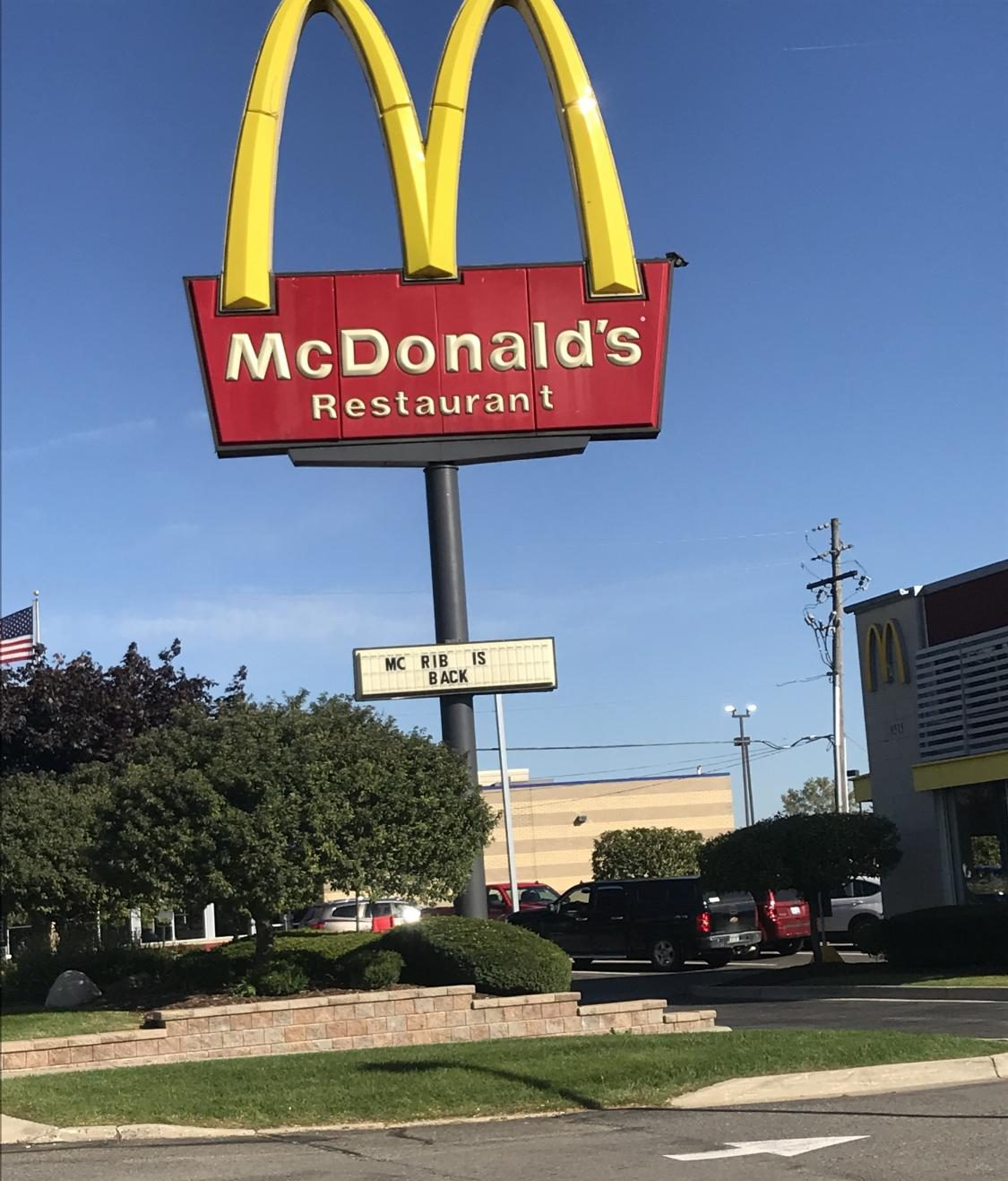 This is the first sight of pulling up to the Mcdonald's on Grand River Avenue with the McRib on the menu.