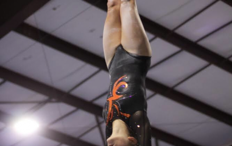 Gymnast sophomore Libby Stafford on the bars.