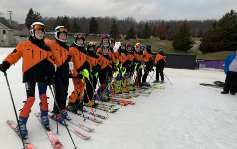 Some members of the BHS Ski Team meet up one last time near the tents before heading up to the course. On Jan. 14, they were suited up for their second race of the season.
